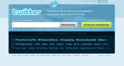 Capture écran de la page d'accueil de Twitter