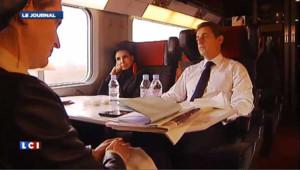 Sarkozy dans le TGV avec Dati, NKM et Bertrand