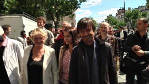 Eva Joly, Cécile Duflot et Nicolas Hulot arrivent au conseil fédéral d'Europe Ecologie-Les Verts le 14 mai 2011
