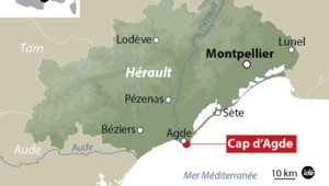 Carte de localisation du Cap d'Agde dans l'Hérault