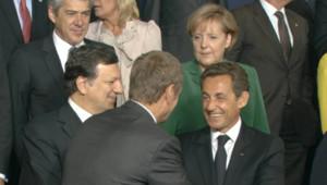 José Manuel Barroso, Nicolas Sarkozy et Angela Merkel, à Bruxelles, le 16 septembre 2010
