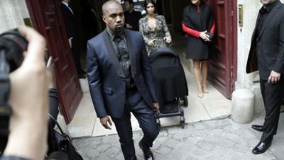Kim Kardashian et Kanye West à Paris le 23 mai 2014.