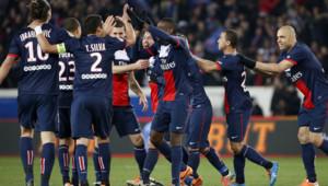 Les Parisiens se congratulent lors de leur match contre Marseille, 2/3/14