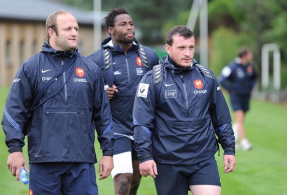 William Servat, Fulgence Ouedraogo et Thomas Domingo - Equipe de France