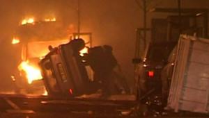 Voiture brûlée à Strasbourg pendant la nuit de la Saint-Sylvestre (1er janvier 2008)