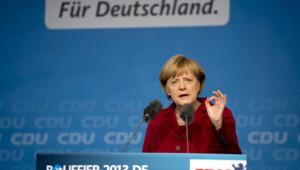 Angela Merkel lors d'un meeting à Fulda, le 19/9/13