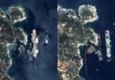 Le Costa Concordia redressé : la vue aérienne avant/après prise en juillet 2013 et le 17 septembre 2013 par le satellite très haute résolution Pléiades, réalisé et opéré par Astrium