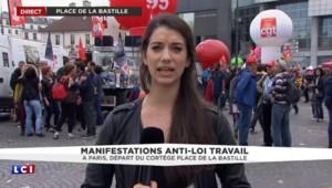Loi Travail : départ du cortège de la manifestation place de la Bastille
