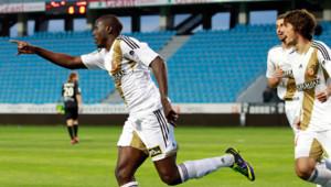 Adamo Coulibaly, auteur des deux buts de la victoire face au CA Bastia (2-0) le 16 mai 2014, synonyme de remontée en L1.