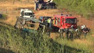 Aude : autocar accidenté sur l'A9 à hauteur de Fitou, 11/8/13