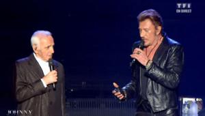 Johnny Hallyday et Charles Aznavour sur scène pour les 70 ans de l'idôle des jeunes.