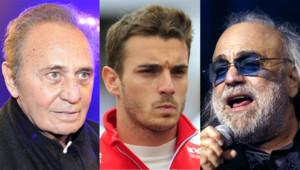 De gauche à droite : Roger Hanin, Jules Bianchi et Demis Roussos