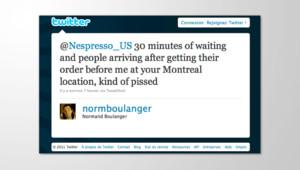 Normand Boulanger un bloggeur canadien se plaint sur le twett de Nespresso du temps d'attente trop long pour un café. Le 22 février 2011.