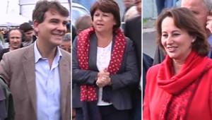 Arnaud Montebourg, Martine Aubry et Ségolène Royal à la fête de l'Huma, le 17 septembre 2011.