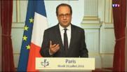 """Prêtre égorgé : """"Restreindre nos libertés affaiblirait la cohésion de notre nation"""" assure Hollande"""