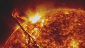 Une éruption solaire.