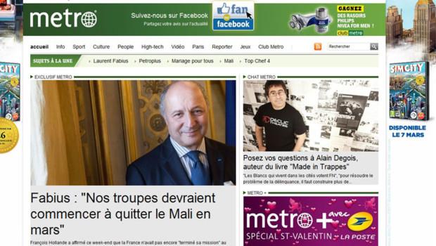 Laurent Fabius annonce un début de retrait des troupes françaises au Mali à partir du mois de Mars dans le quotidien Métro.