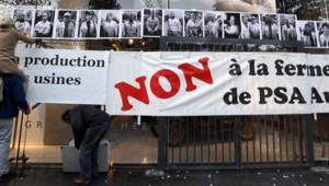 manifestation devant le site de PSA le 25 octobre 2012