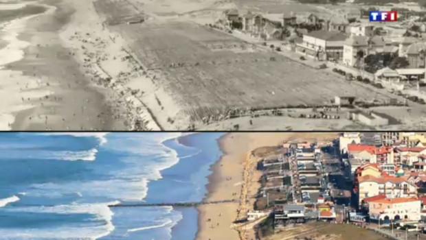 A Lacanau (Gironde), dans les années 50, une centaine de mètres séparaient les habitations de l'océan. Depuis, la plage a largement été grignotée par l'érosion.