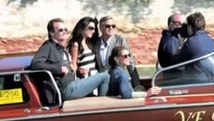 George Clooney et Amal Alamuddin arrivent à Venise pour leur mariage, le 26 septembre 2014