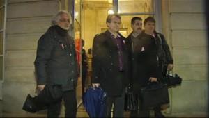 L'intersyndicale de Florange sur le perron de Matignon, le 5 décembre 2012.