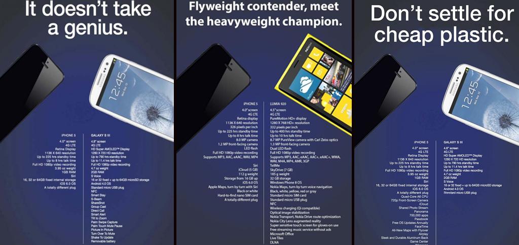 Samsung, Apple et Nokia se défient par publicités interposées.