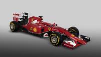 Vue 3/4 avant de la Ferrari SF15-T engagée en championnat de Formule 1 2015 avec les pilotes Sebasian Vettel et Kimi Räikkönen