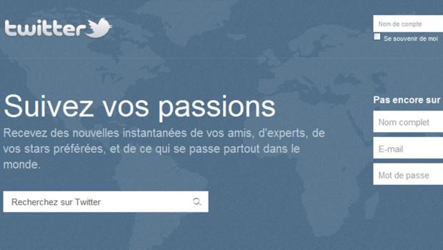 Capture d'écran de la page d'accueil de Twitter en français, le 3 août 2011