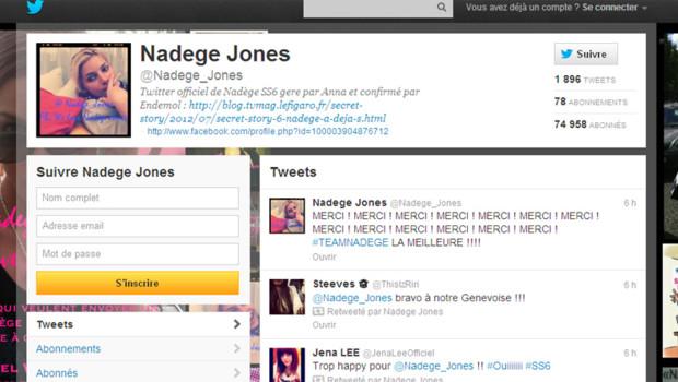 Capture écran du compte Twitter de Nadège, gagnante de Secret Story 6, après sa victoire (8 septembre 2012)