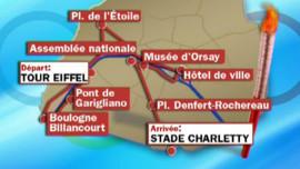 La carte du parcours de la flamme olympique à Paris