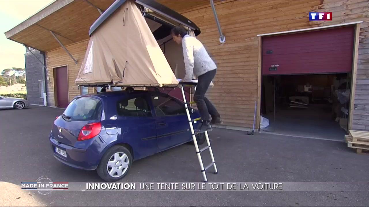 une tente sur le toit d une voiture une invention made in france lci. Black Bedroom Furniture Sets. Home Design Ideas