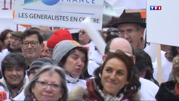 Le 20 heures du 15 mars 2015 : Paris : 40.000 médecins manifestent contre le projet santé - 120.16499999999999