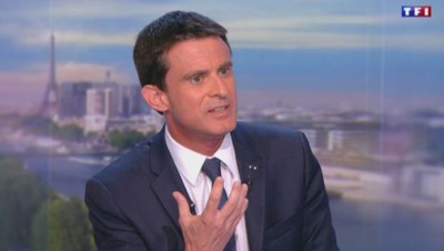 Le Premier ministre Manuel Valls sur le plateau de JT de 20h de TF1.