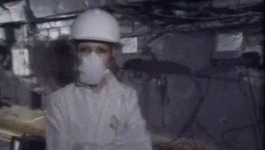 Françoise-Marie Morel dans le sarcophage de Tchernobyl, mars 1990