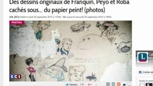 Des dessins de Franquin et Peyo cachés ... sous du papier peint !