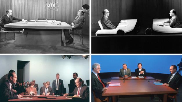 Montage photo des duels télévisés d'entre-deux-tours de 1974, 1981, 1988 et 1995.