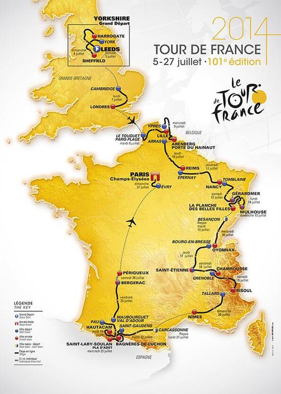 Carte du Tour de France 2014