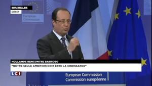 """Hollande : """"Notre seule ambition doit être la croissance"""""""