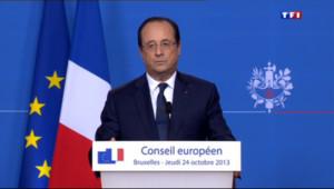 """Le 13 heures du 25 octobre 2013 : Hollande note """"une �dente d�l�tion"""" du ch�e - 585.9695201568603"""