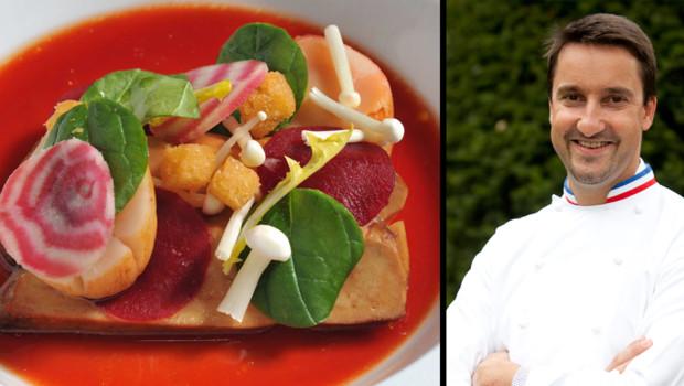 Le chef Philippe Mille livre sa recette du Foie gras de canard poché dans un bortch pour Noël