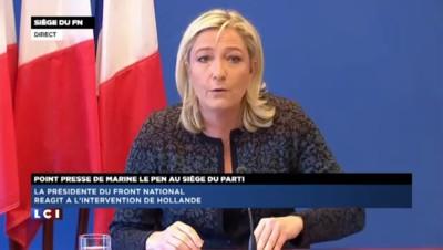 """Hollande sur TF1 : """"Un exercice totalement raté"""" selon Le Pen"""