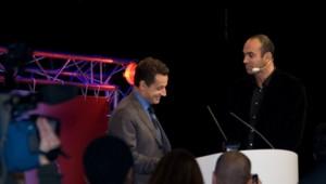 Loïc Le Meur et Nicolas Sarkozy à la conférence le Web3