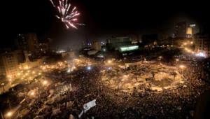 Feu d'artifice place Tahrir, au Caire, après la démission d'Hosni Moubarak