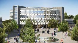 Vue d'artiste : bâtiment universitaire à Stratford après la reconversion du Parc Olympique