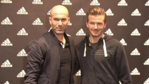 Zinédine Zidane et David Beckham à Paris, le 28 février 2013.