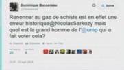 Tweet de Dominique Bussereau critiquant la proposition de Nicolas Sarkozy sur le gaz de schiste, 26/9/14