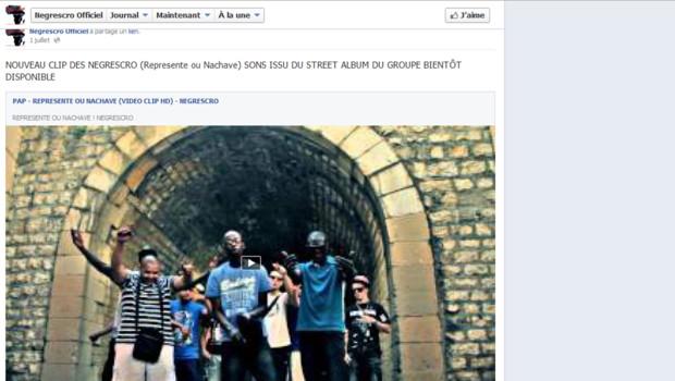 "Capture écran : ""Represente ou Nachave"" sur la page Facebook de Negrescro, 10/7/12"