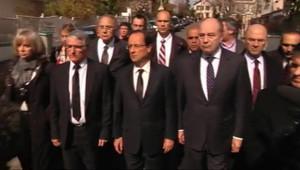 François Hollande en déplacement à Toulouse pour rendre hommage aux victimes de la fusillade du collège-lycée juif, le 19 mars 2012.