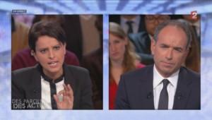 Najat Vallaud-Belkacem et Jean-François Copé sur France 2 le 10/10/2013.