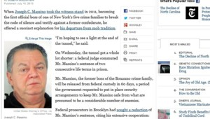 Capture d'écran de l'article du site du New York Times consacré à à Joseph Massino